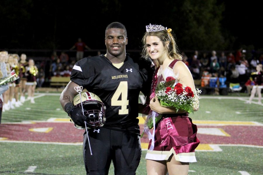 Seniors+Chloe+Cuccia+and+Wesley+Brown+were+crowned+Homecoming+Queen+and+King+at+the+Homecoming+football+game+Friday%2C+Oct+20.