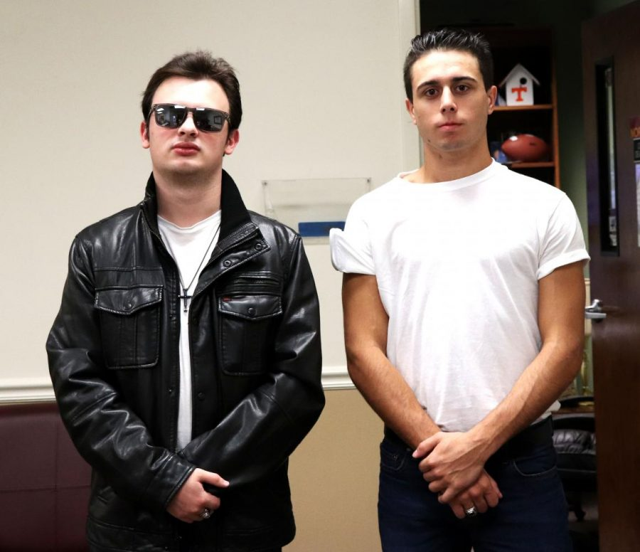 Seniors Tyler Mussachia and Gage Dufrene dress up as Greasers for Way Back Wednesday,