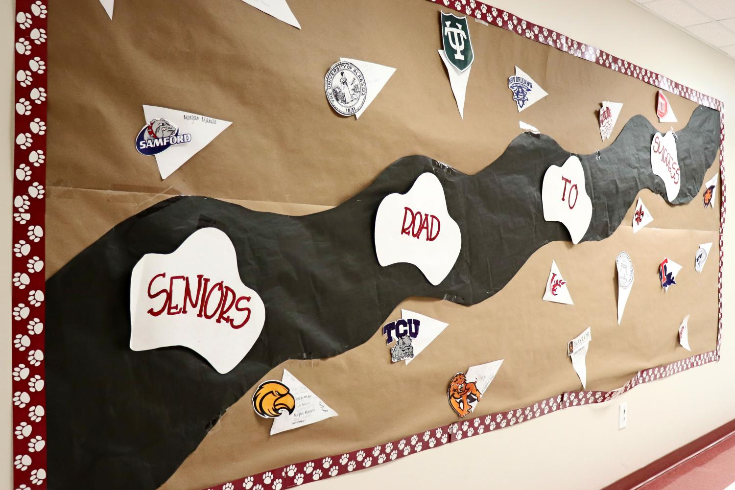 Northlake displays colleges seniors have been accepted to so far in the main hall.