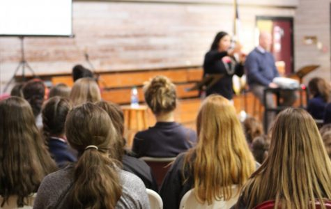 Students hear from Principal Jenni Vega and Junior Bible teacher Jeff Ehrhardt on the topic of relationships during a recent chapel.