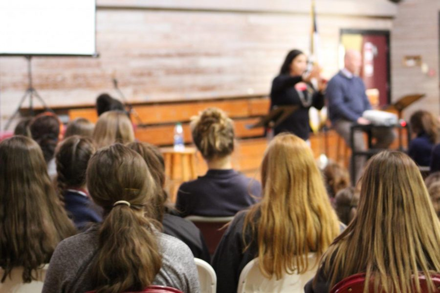 Students+hear+from+Principal+Jenni+Vega+and+Junior+Bible+teacher+Jeff+Ehrhardt+on+the+topic+of+relationships+during+a+recent+chapel.