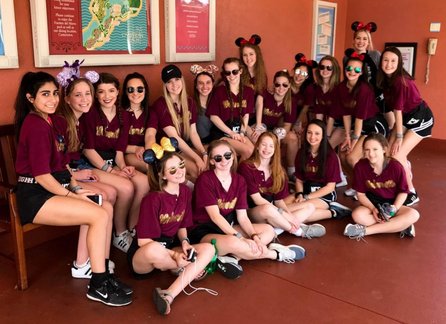 Wolverettes+gather+while+at+Disney+for+competition.
