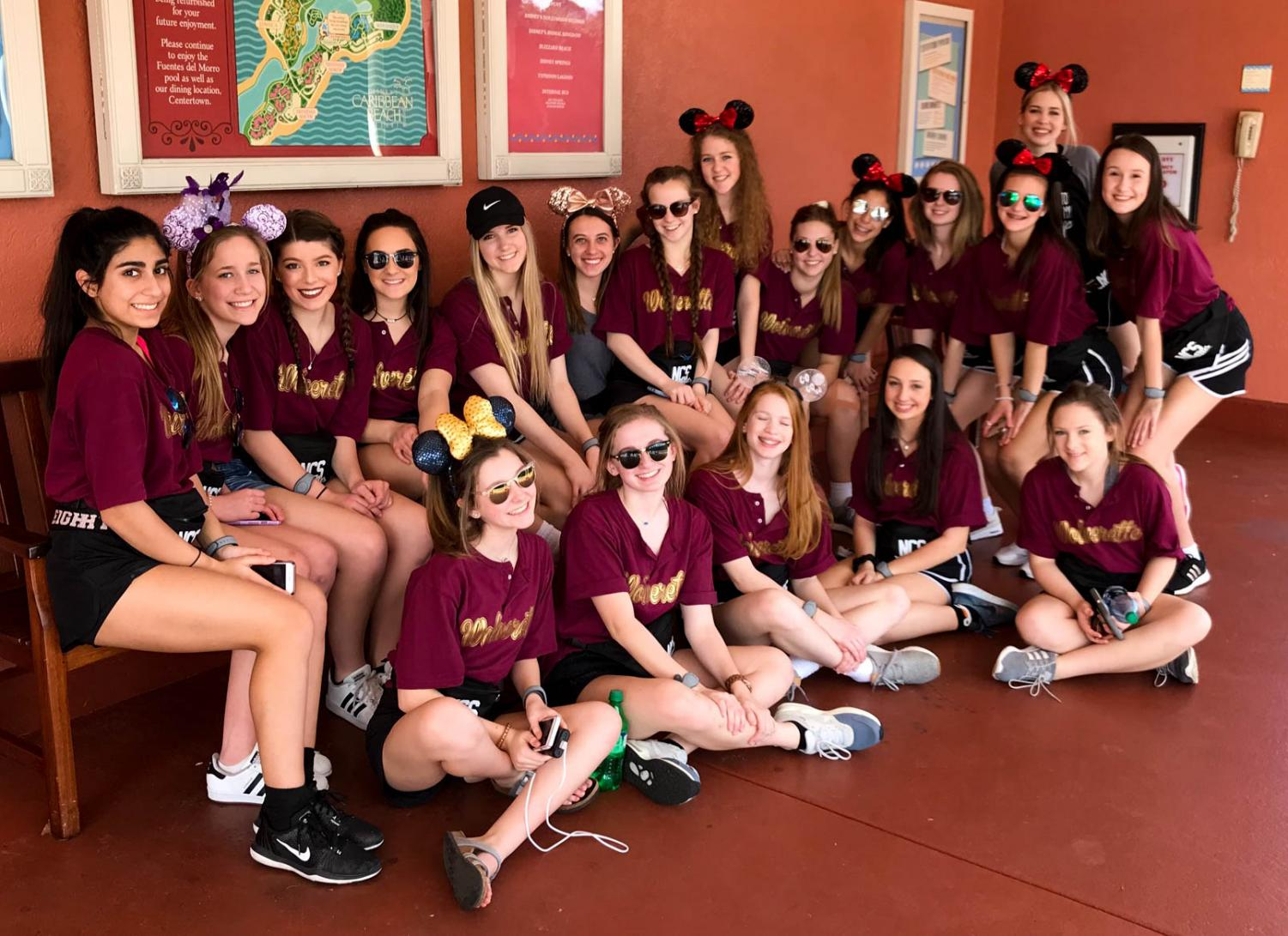 Wolverettes gather while at Disney for competition.