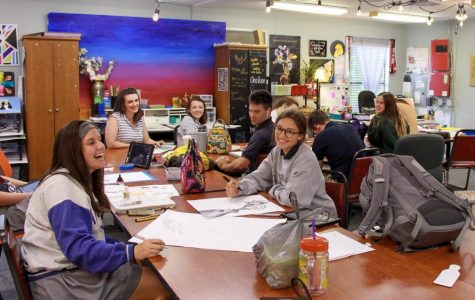 AP Art was added as a course offering for the first time this year. Students will submit a portfolio by the end of the year to be reviewed by the College Board.