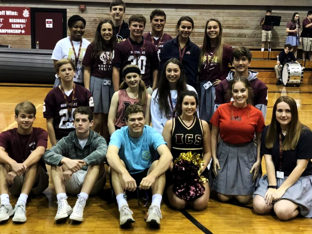 This year's Homecoming Court consists of freshmen dukes and maids: Gabe Smith, Charles (Andrew) Beshenich, Sophie Crammond, and Caroline Thurstrup. Sophomore dukes and maids: Jackson Picone, Michael Swan, Kendall Cowart, and Tamara Otkins. Junior dukes and maids: Jake Nunmaker, Colton Leggett, Maicey Rooney, and Natalie Newberry. Senior dukes and maids: Colby Desselles, Christopher Capdeboscq, Riley Ireland, Mary Evelyn McPherson, Ashley Whelan, and Jeana Bellan.