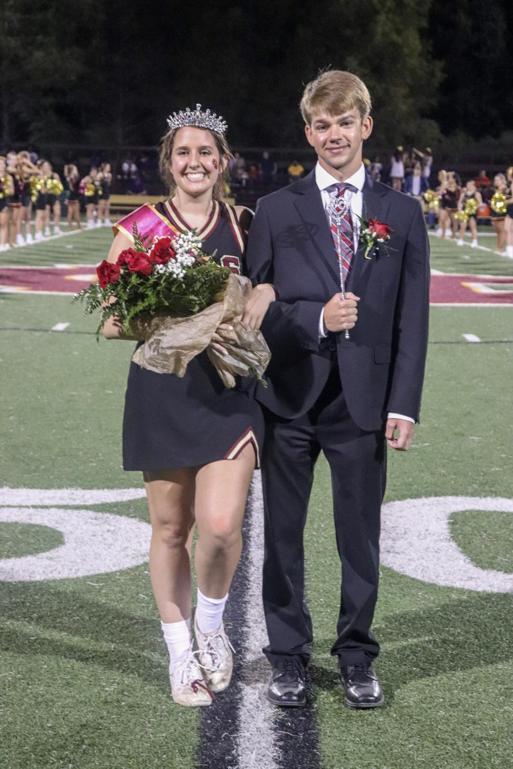 Queen Jeana Bellan and King Colby Desselles were crowned during half time of the Homecoming football game Friday night.
