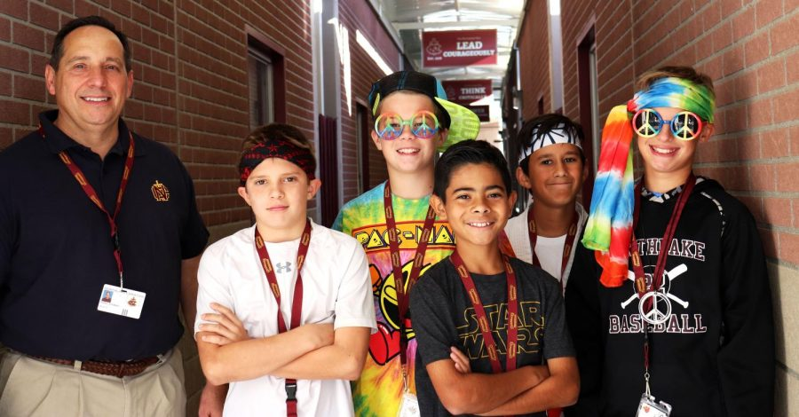 Middle School students dress up for Way Back Wednesday.