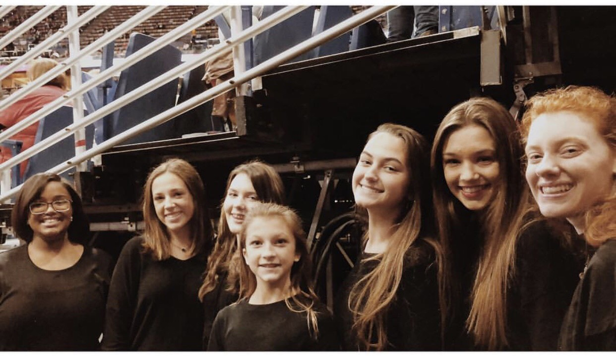Northlake's Vocal Ensemble before singing the National Anthem at a Pelicans game in the fall.
